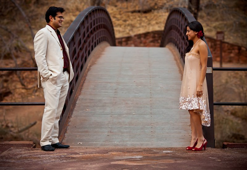 Chhavi Saurabh - Zion National Park Engagement Session Utah - Bridge - Rahul Rana Photography