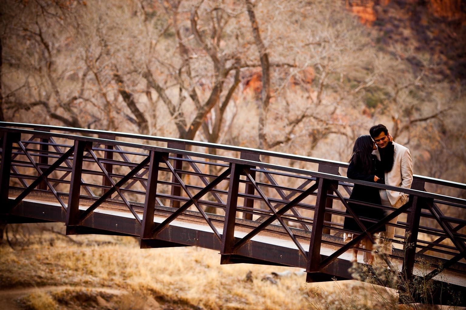 Utah Zion National Park Bridge - Engagement Session - Chhavi Saurabh - Rahul Rana