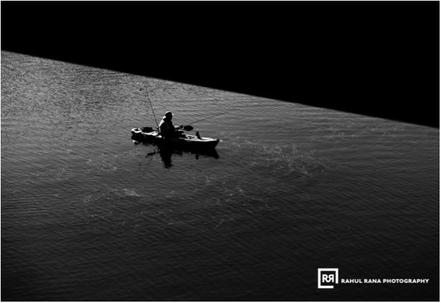 Solitude - Man fishing in a lake alone - Austin - Rahul Rana Photography