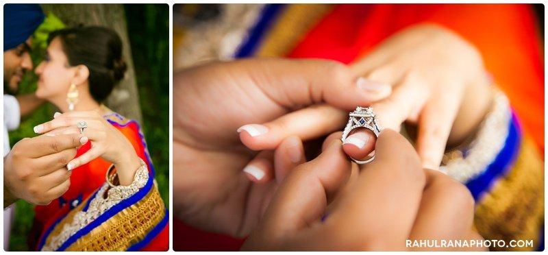 Perneet Jaspreet - Ring engagement details diamond sapphire blue - Rahul Rana Photography