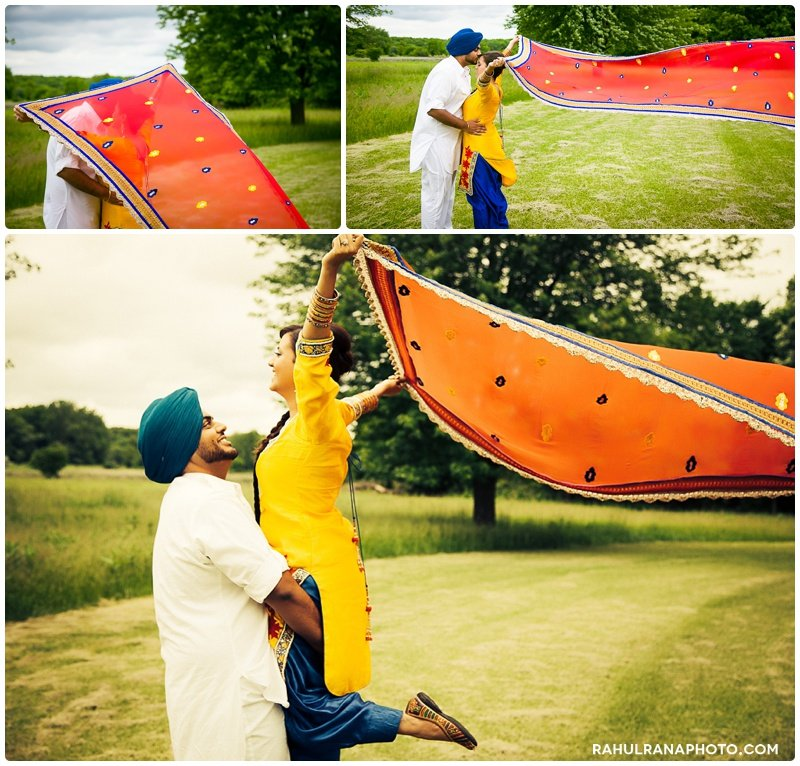 Perneet Jaspreet - dupatta flying wind engagement - Rahul Rana Photography