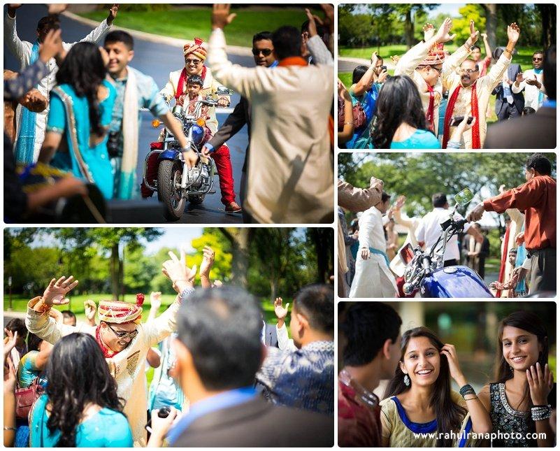Pooja-Krishna-Illinois-Chicago-Indian-Dhol Dancing Baraat Groom Entry Motorbike-Rahul-Rana-Photography