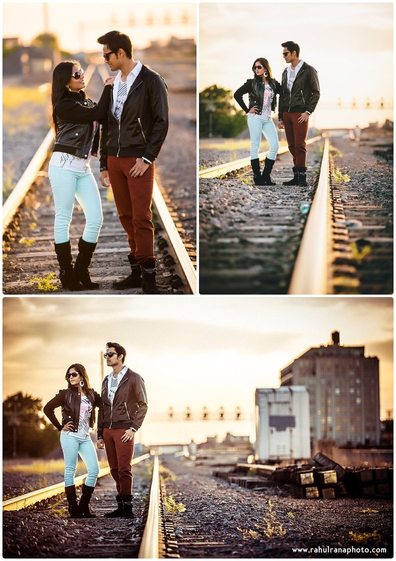 Rina Sunny - Chicago train tracks engagement session - Rahul Rana Photography