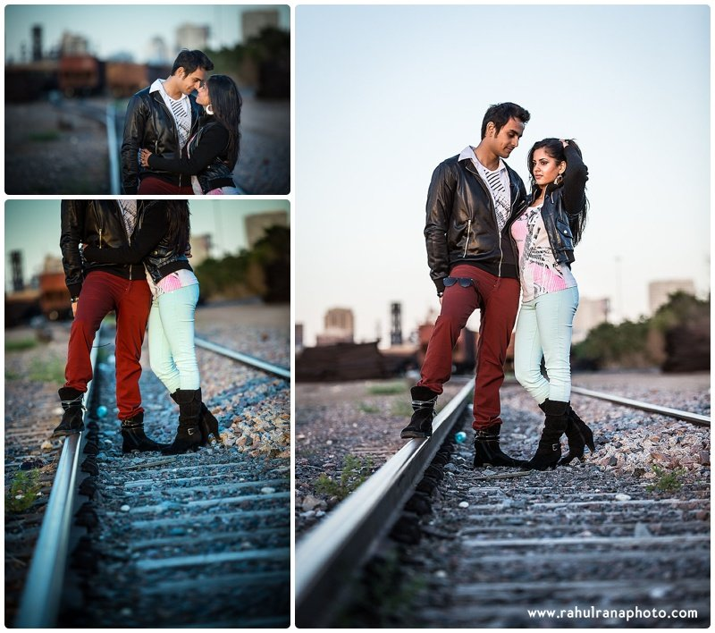 Rina Sunny - train tracks fashion engagement session - Rahul Rana Photography
