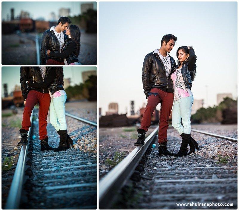Rina Sunny - train tracks fashion engagement session - Rahul Rana Photography