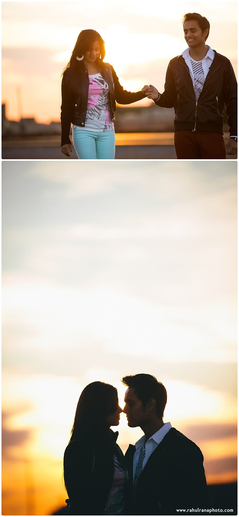 Rina Sunny - train tracks sunset holding hands engagement - Rahul Rana Photography