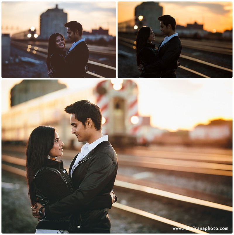 Rina Sunny - train lights engagement session - Rahul Rana Photography