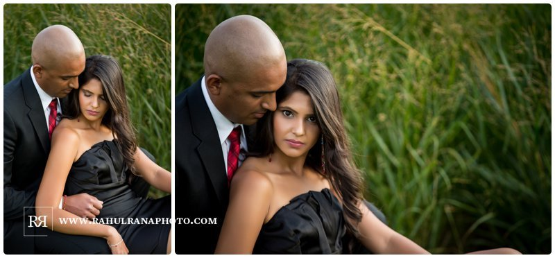 Pinkie Hardik - Chicago Park Grass Field - Engagement Session - Rahul Rana Photography