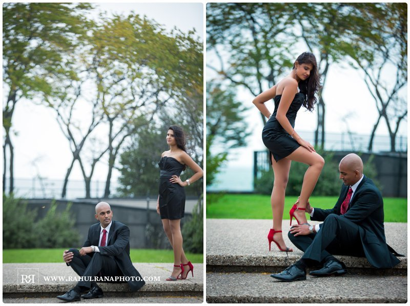 Pinkie Hardik - Chicago Park Grass Field - Fashion Engagement Session - Rahul Rana Photography