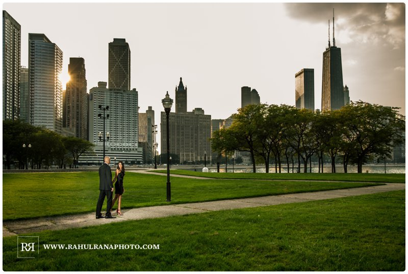 Pinkie Hardik - Chicago Skyline John Hancock Park - Engagement Session - Rahul Rana Photography