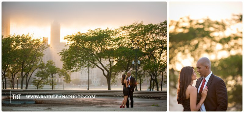 Pinkie Hardik - Chicago Skyline - John Hancock - Sunset Trees - Engagement Session - Rahul Rana Photography