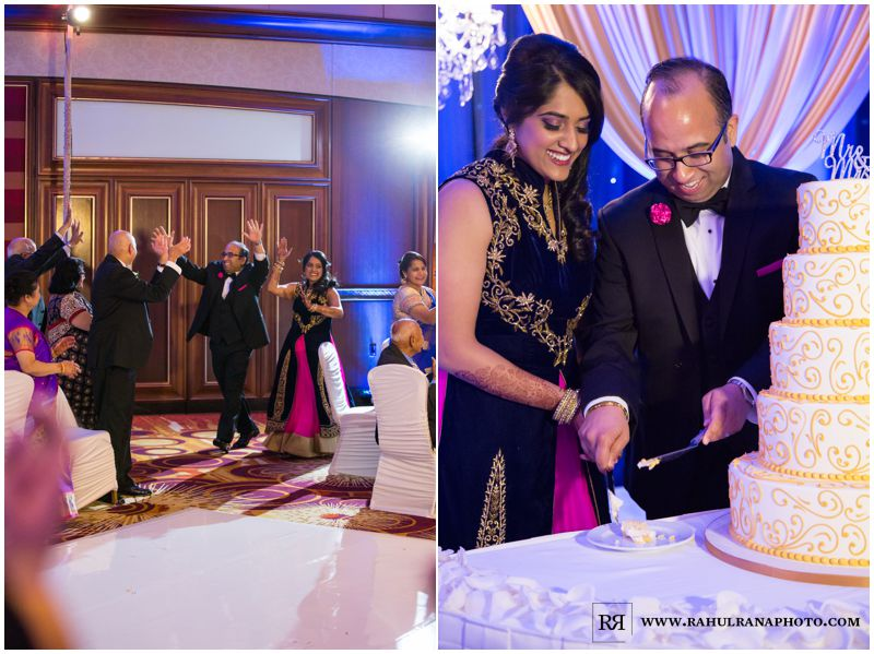 Puja Neel - Chicago Marriott O'Hare - Indian Wedding -  Reception Cake Entrance - Rahul Rana Photography
