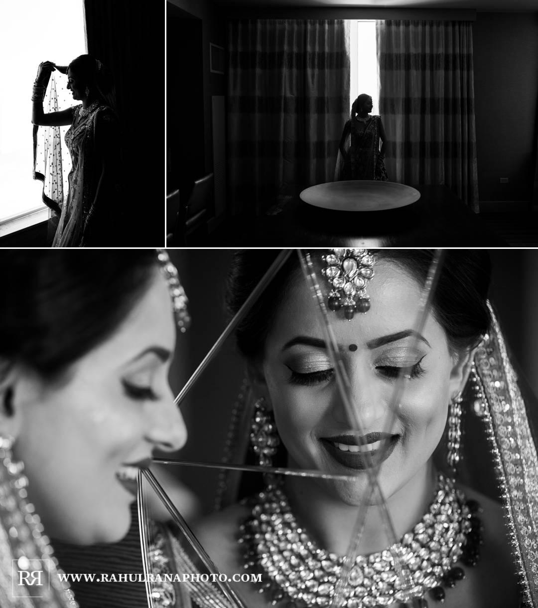 Westin North Shore - Illinois Indian Wedding - Bride Portraits Mirror - Rahul Rana Photo