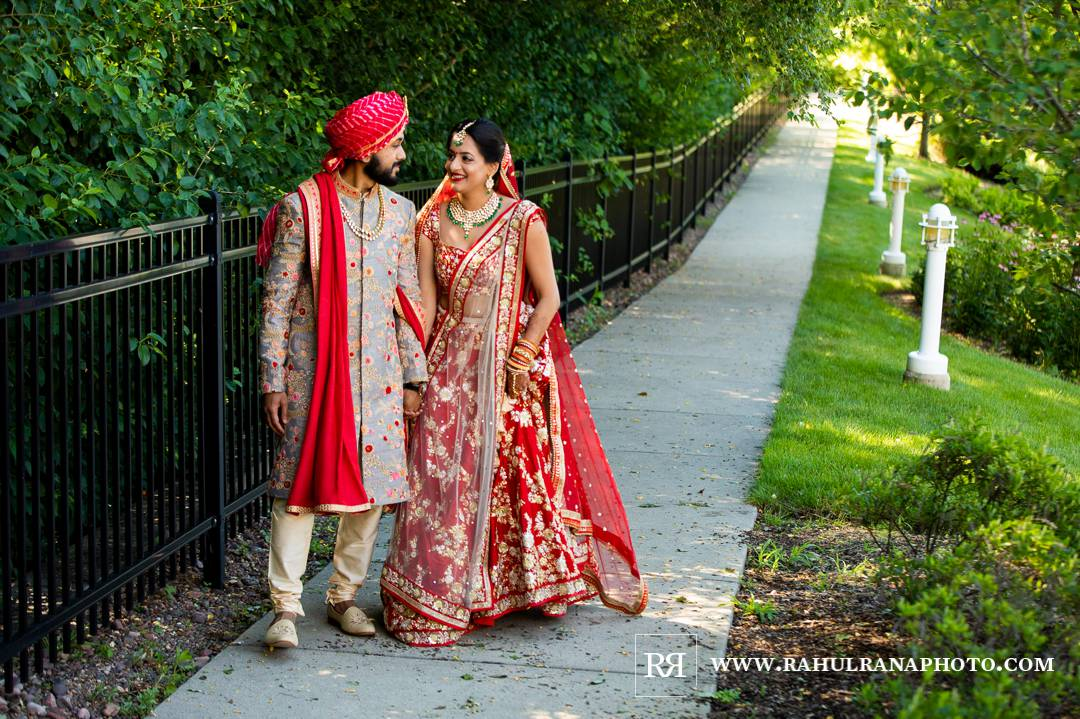 Westin North Shore - Wheeling Gujarati Wedding - First Look Garden - Rahul Rana Photo