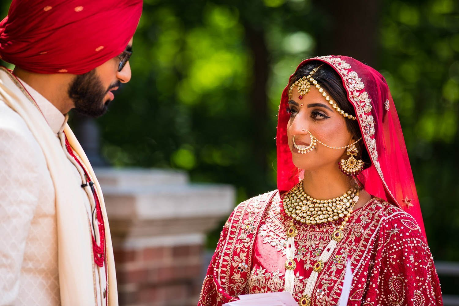 Bride & Groom First Look - Westfields Marriott Chantilly - Virginia Indian Wedding - Rahul Rana Photography